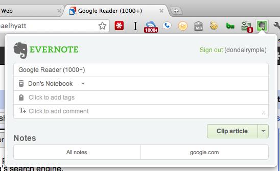 Evernote Google Chrome Web Clipper