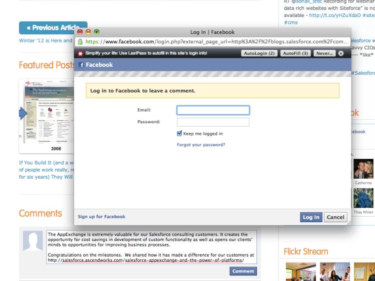 Facebook Comments On Salesforce Blog