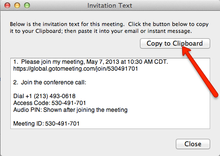 Copy Meeting Gotomeeting Details