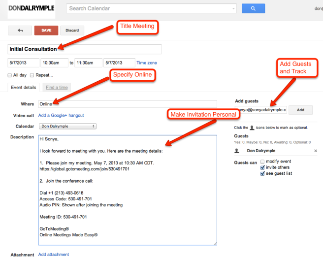 Google Calendar GotoMeeting Invitation