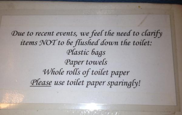 Don't flush toilet maintenance problems
