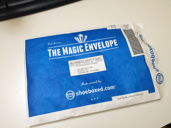 shoeboxed envelope